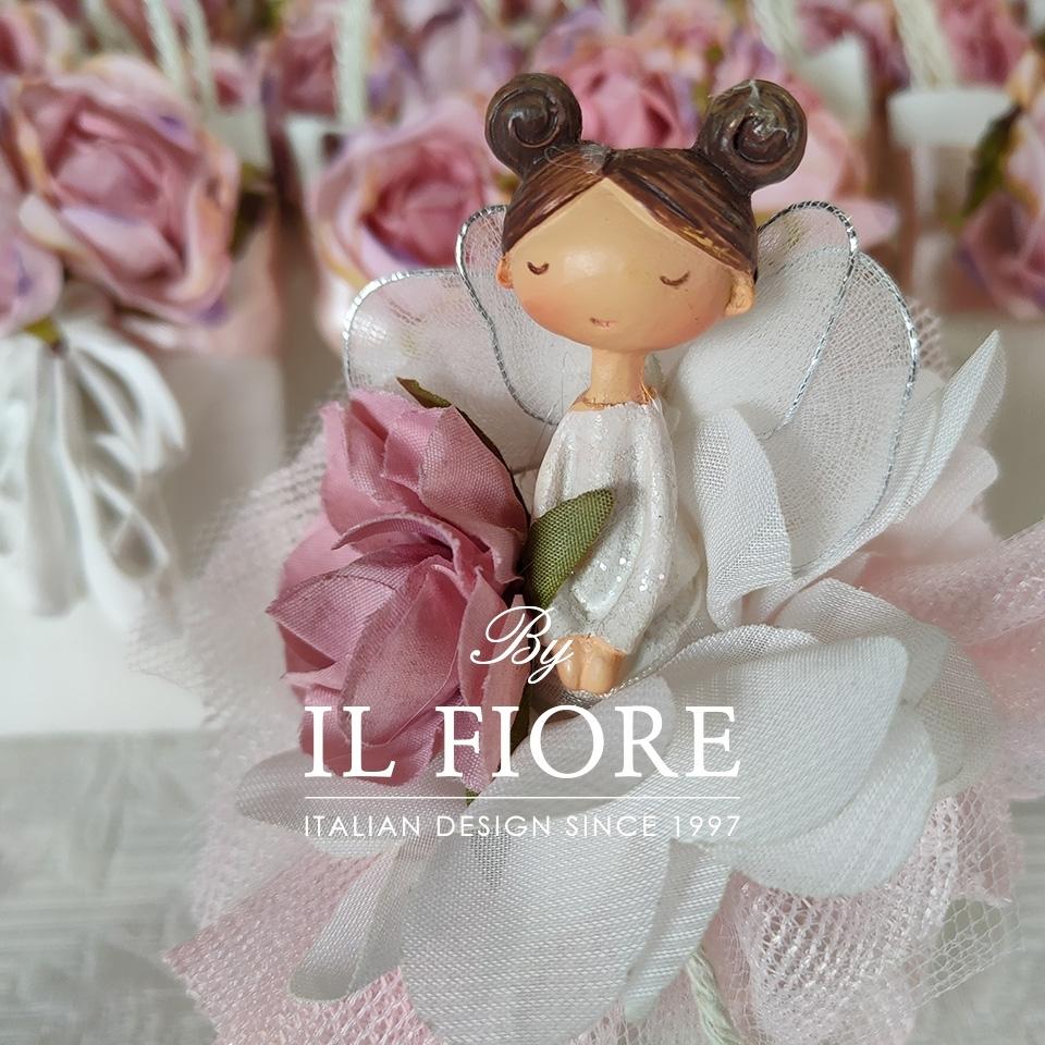 Bambola Comunione e Cresima sacchetto portaconfetti rosa e fiori thumb cover