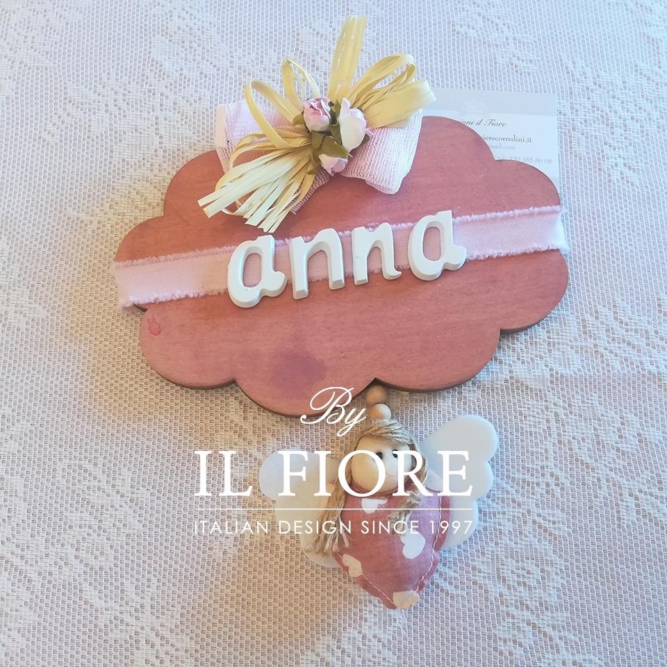 Fiocco nascita Bimba nuvoletta Personalizzabile con nome fuoriporta cameretta thumb cover
