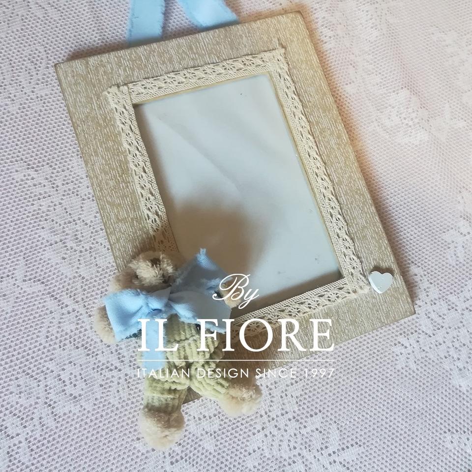 Portafoto bimbo e bimba con orsetto e merletto articolo da regalo thumb cover
