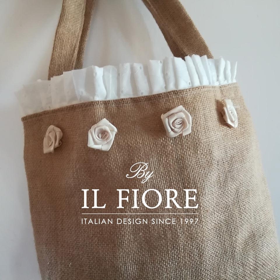 Borse in juta con Sangallo e roselline Bag donna thumb cover