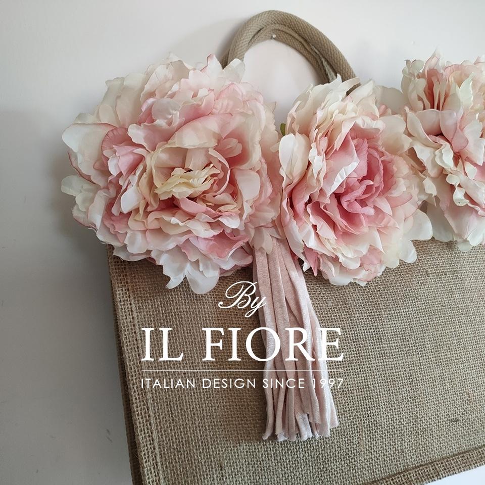 Borse in juta con fiori e nappina Bag donna thumb cover