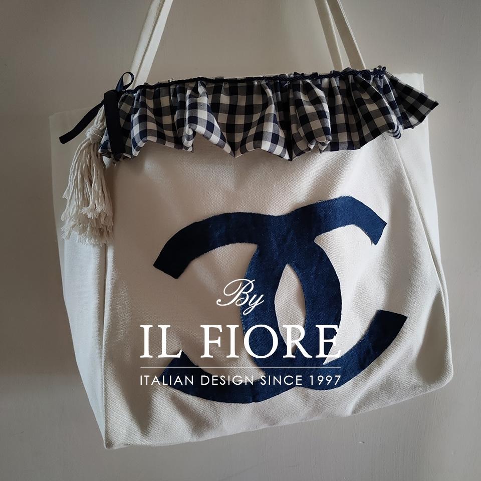 Borse in cotone con volant a quadri blu Bag donna thumb cover