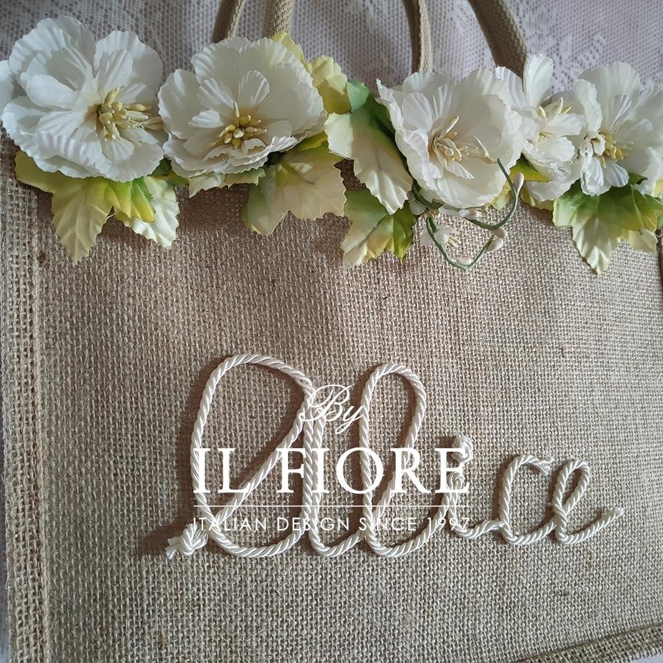 Borse in juta con nome personalizzabile e fiori Bag donna thumb cover
