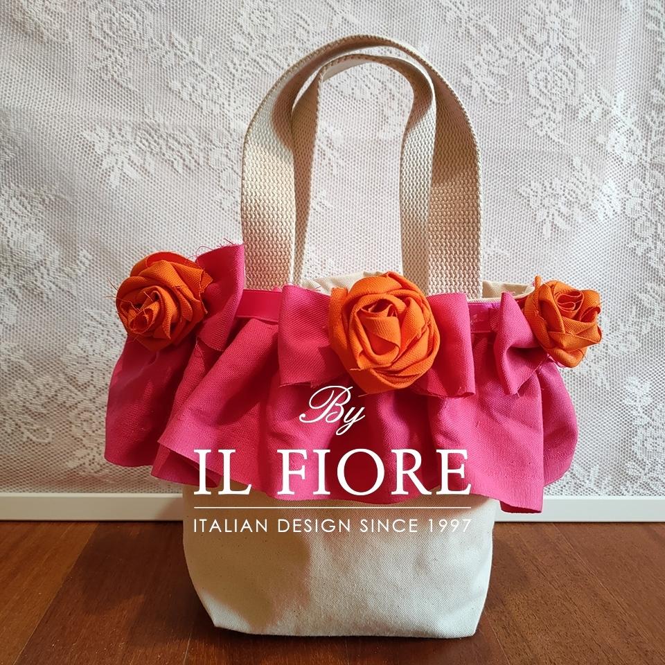 Borse donna con fiori di stoffa e volant fucsia Bag donna thumb cover