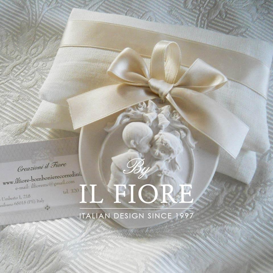 Bomboniera Matrimonio Shabby Chic Sacchetti con Cuore Sposi in Gesso Profumato thumb cover