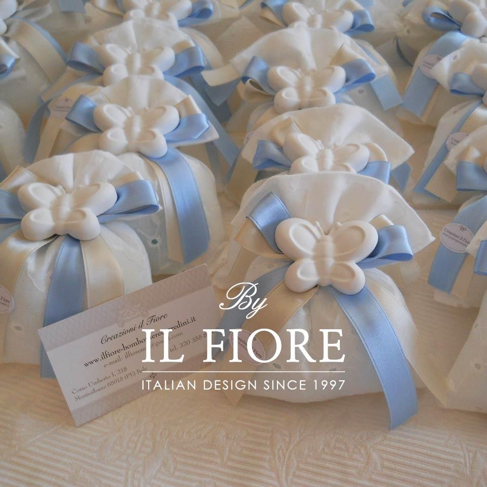 Bomboniera Battesimo sacchetto portaconfetti con farfalla. thumb cover