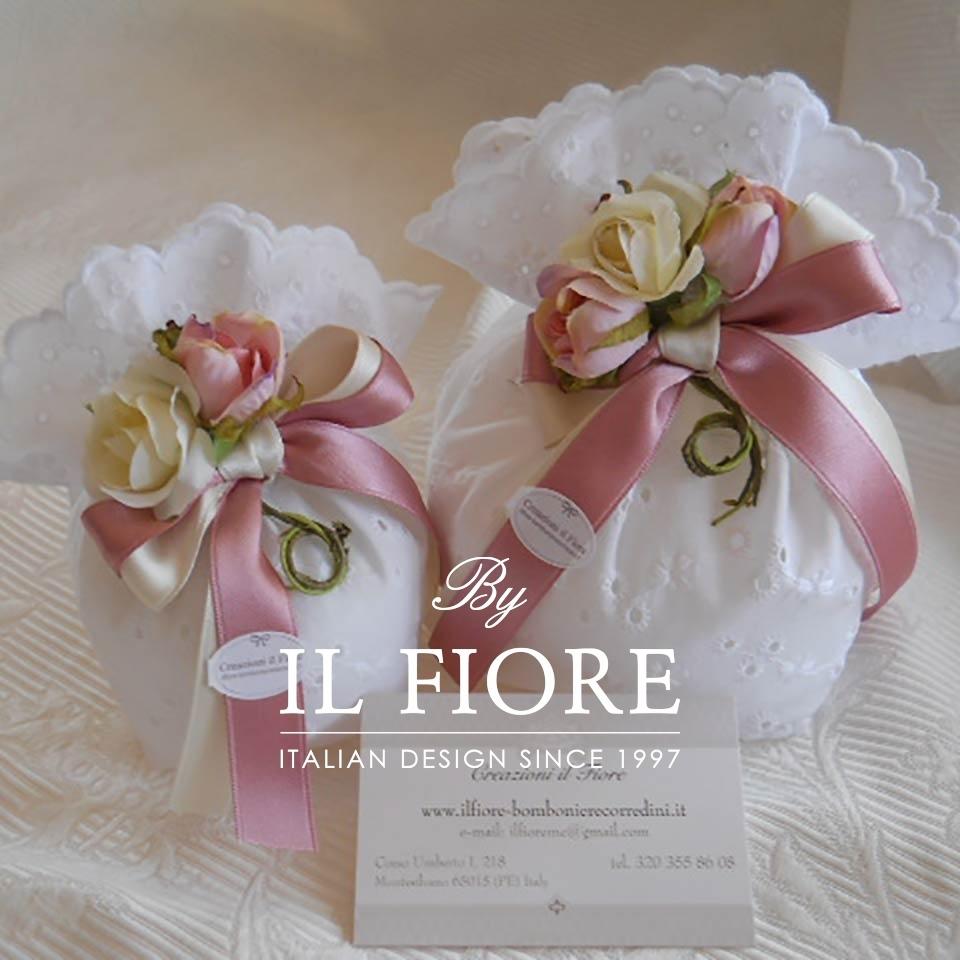 Bomboniera Battesimo Bimba Sacchetto San Gallo con fiori thumb cover
