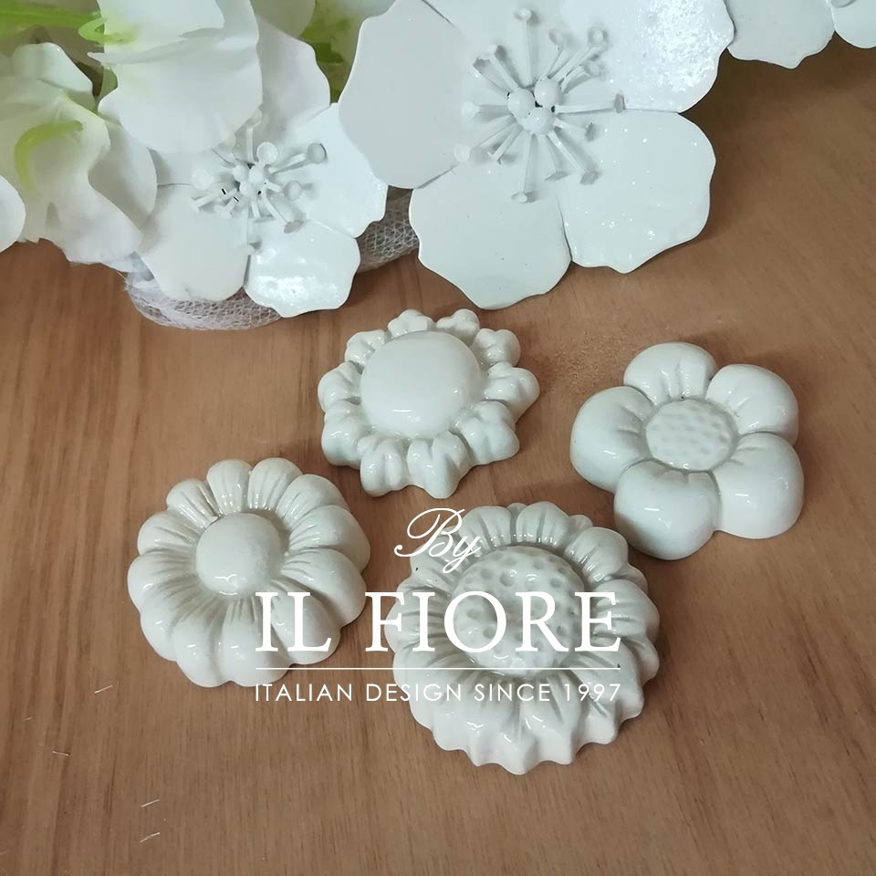 Ceramica - Set calamite fiori bianchi