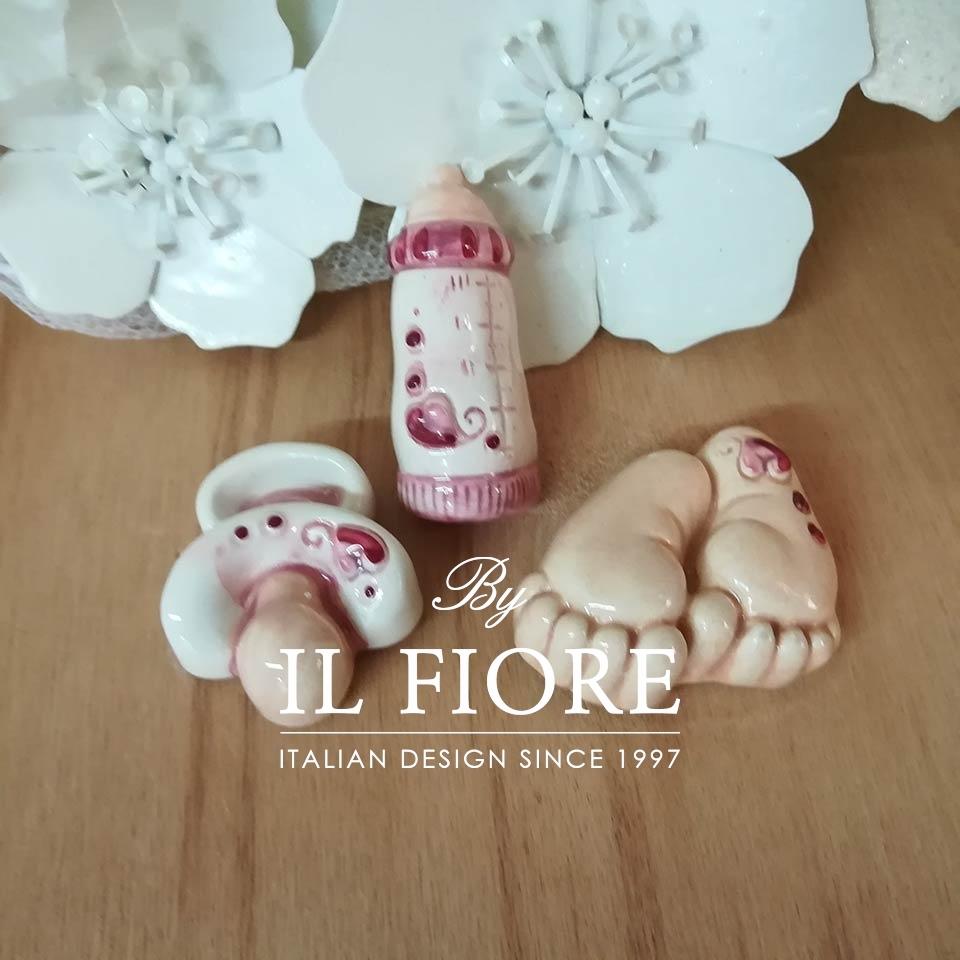Ceramica - Set calamite ciuccio/biberon/piedini