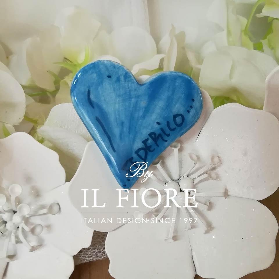 Ceramica - calamita cuore con Nome personalizzabile