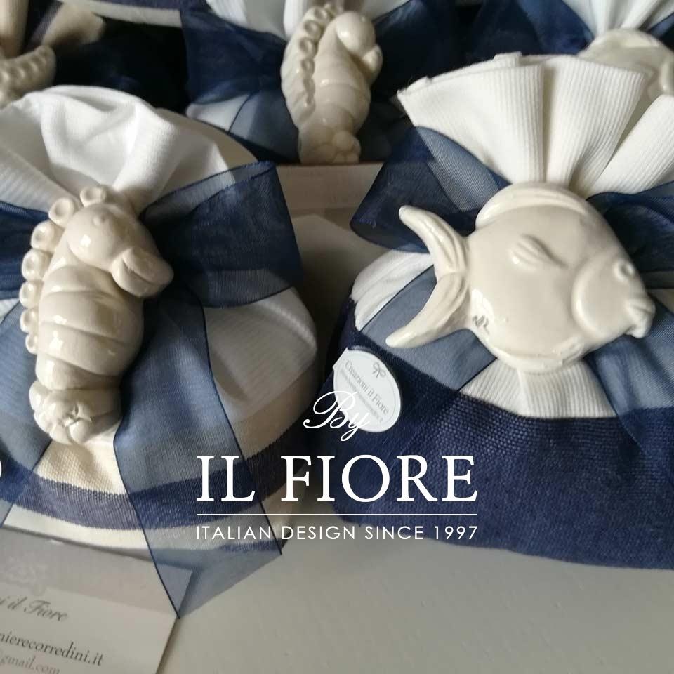 Bomboniera Matrimonio Sacchetto Mare con Calamite Ceramica thumb cover