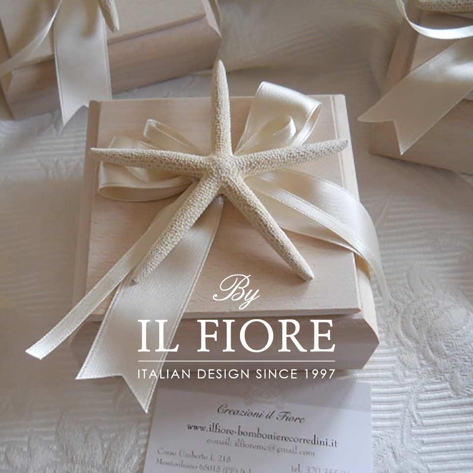 Bomboniera Utile Matrimonio Scatola in Legno con Stella Marina thumb cover