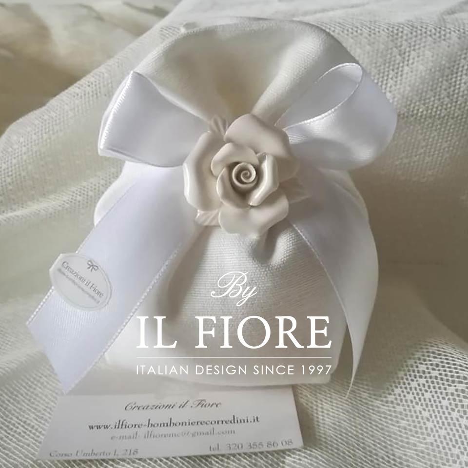 Bomboniere Matrimonio, Comunione e Cresima rosa in ceramica thumb cover