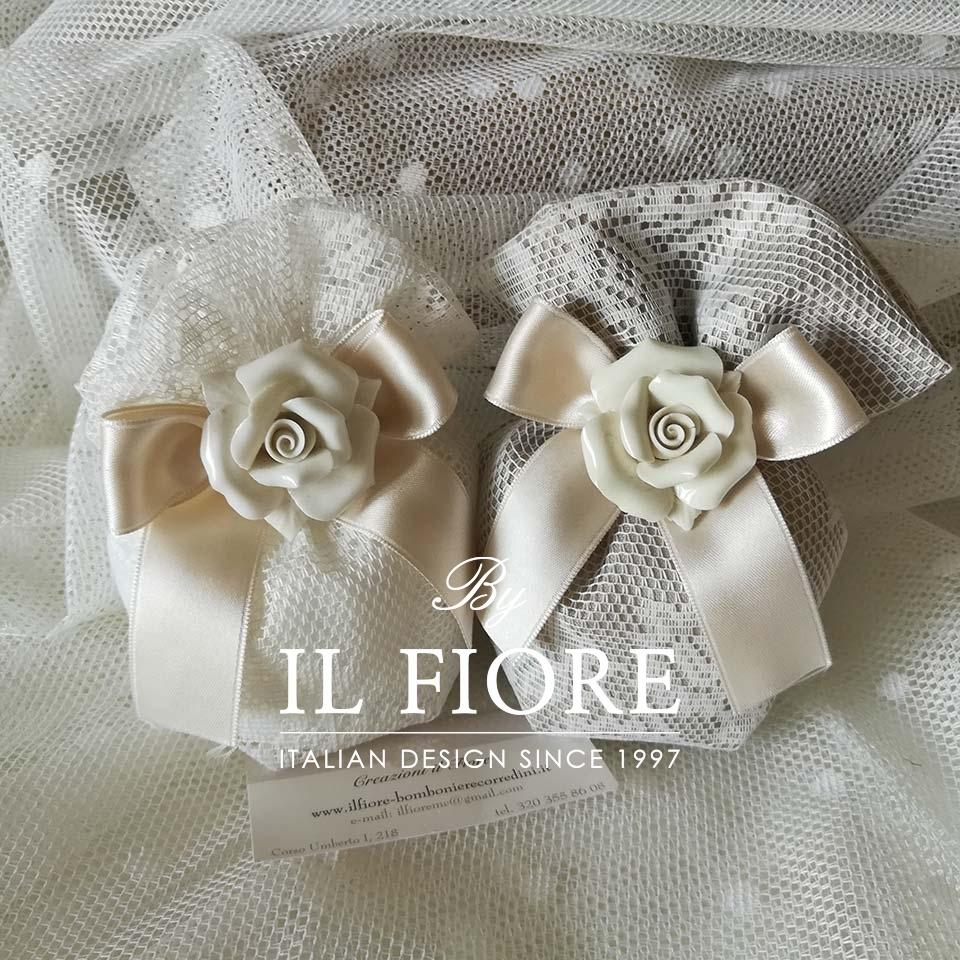 Bomboniera Matrimonio, Comunione e Cresima Sacchetti Pizzo e Rosa in Ceramica thumb cover