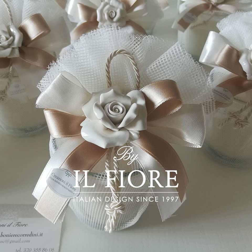Bomboniera utile candela Comunione,  Matrimonio e Cresima con rosa in Ceramica thumb cover
