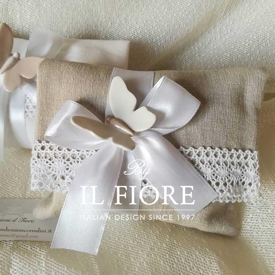 Bomboniere matrimonio sacchetto portaconfetti con farfalle in ceramica e merletto thumb cover