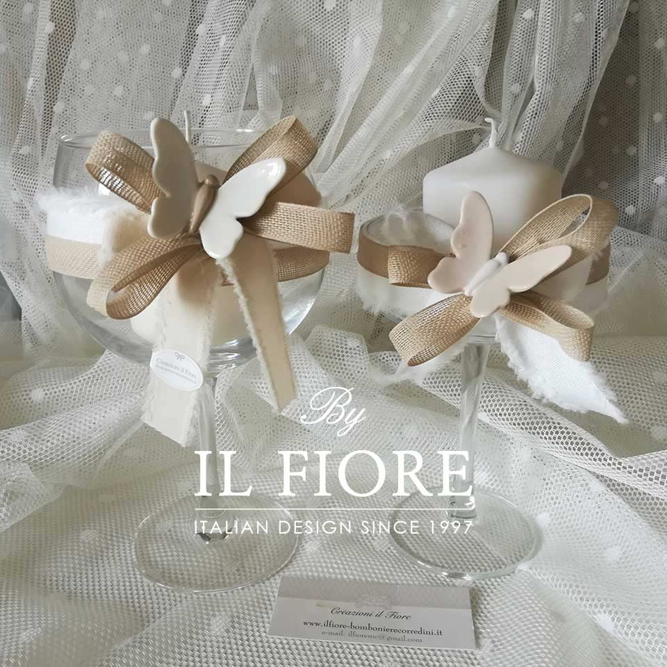 Bomboniere Matrimonio Comunione e Cresima Portacandela in Vetro con Farfalla in Ceramica thumb cover