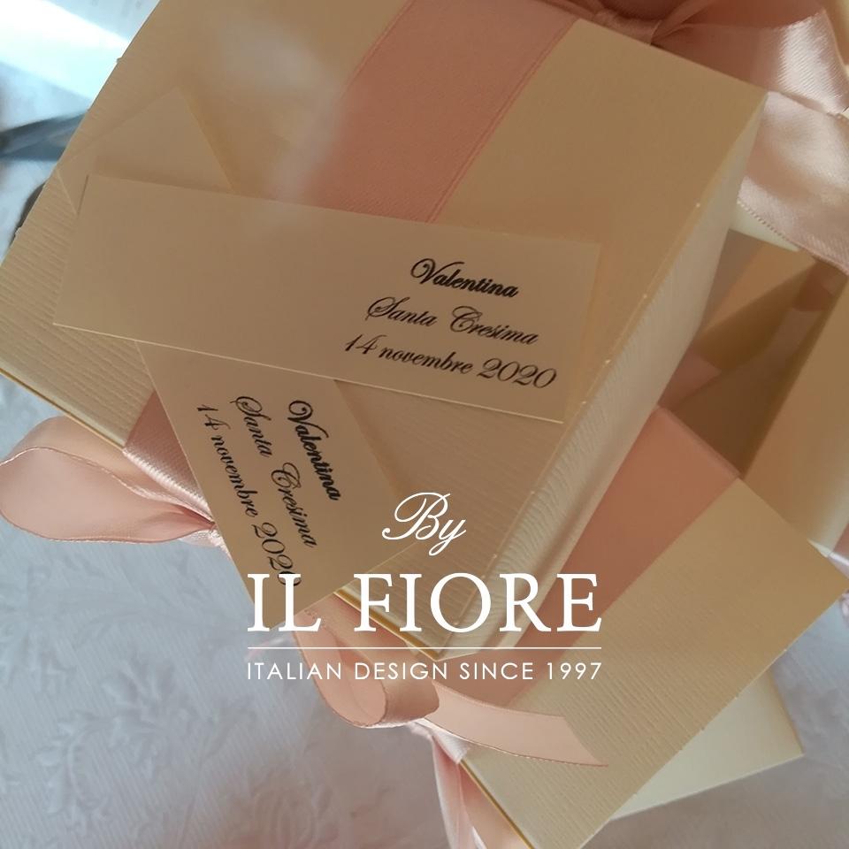 Bambola Comunione e Cresima sacchetto portaconfetti rosa e fiori 01390