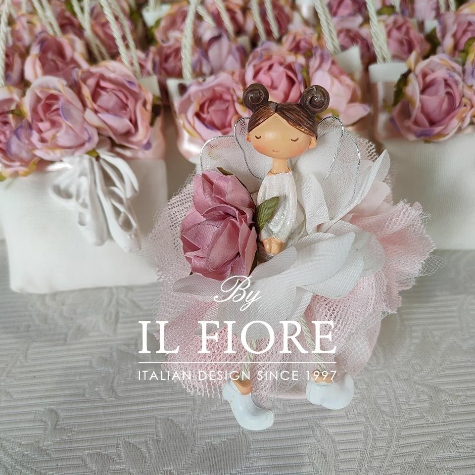 Bambola Comunione e Cresima sacchetto portaconfetti rosa e fiori 01410