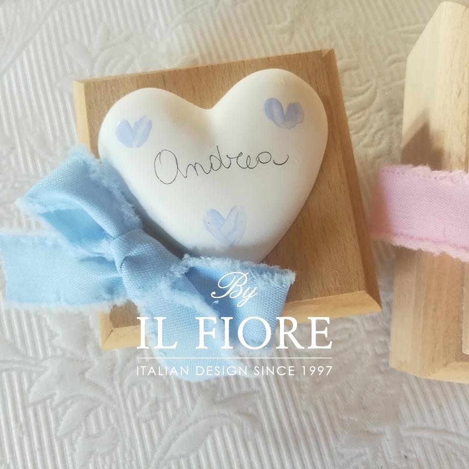 Bomboniera Battesimo scatola in legno con cuore personalizzabile 010