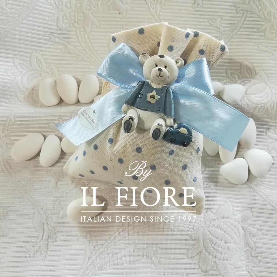 Bomboniera Battesimo bimbo con orsetto calamita e sacchetto 01440