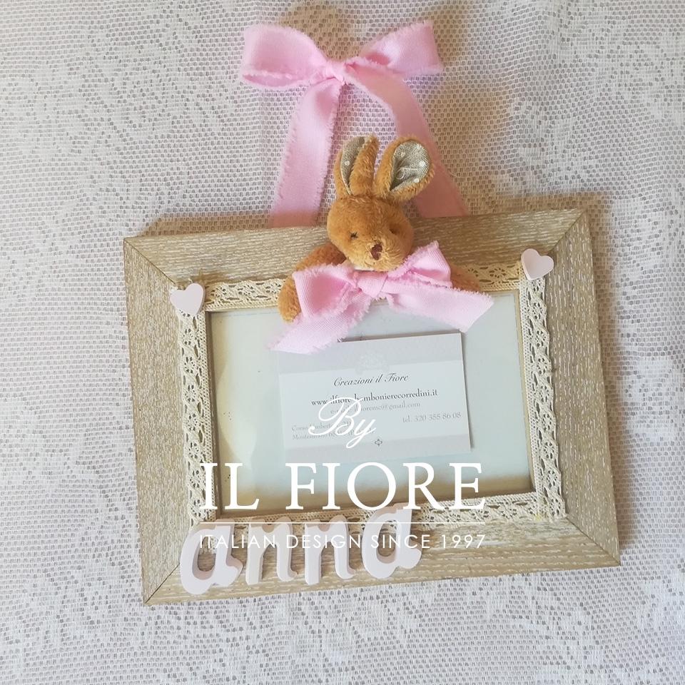 Portafoto bimba e bimbo con cuoricini in gesso e coniglietto articolo da regalo 01590