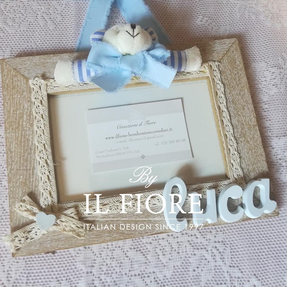 Portafoto bimbo e bimba con orsetto  e merletto articolo da regalo 01590