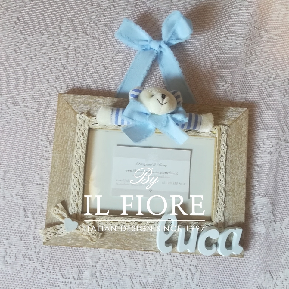 Portafoto bimbo e bimba con orsetto  e merletto articolo da regalo 01600