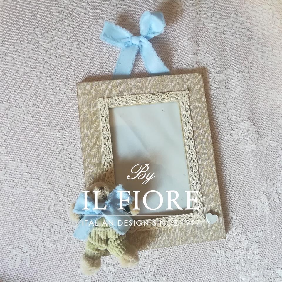 Portafoto bimbo e bimba con orsetto e merletto articolo da regalo 010