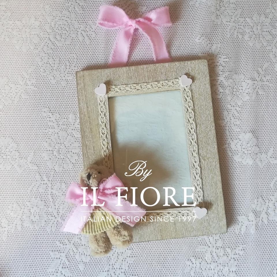 Portafoto bimbo e bimba con orsetto e merletto articolo da regalo 01620