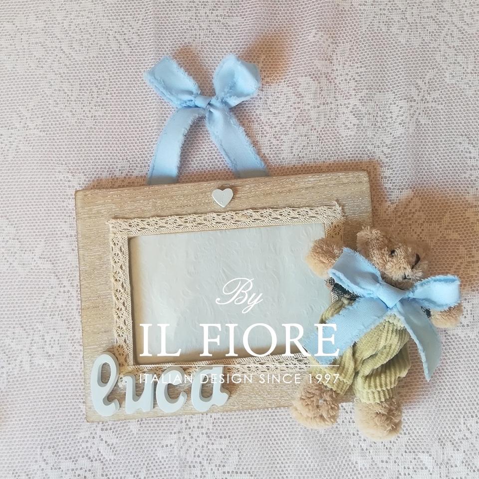 Portafoto bimba e bimbo con cuoricini in gesso e coniglietto articolo da regalo 010