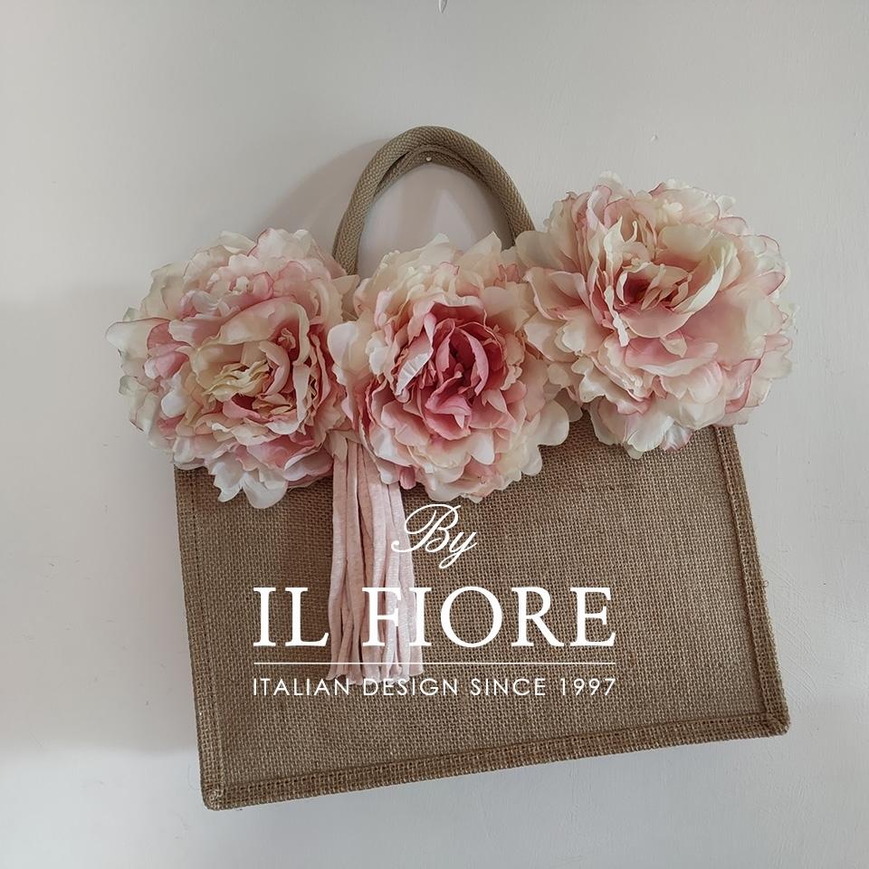 Borse in juta con fiori e nappina Bag donna 010