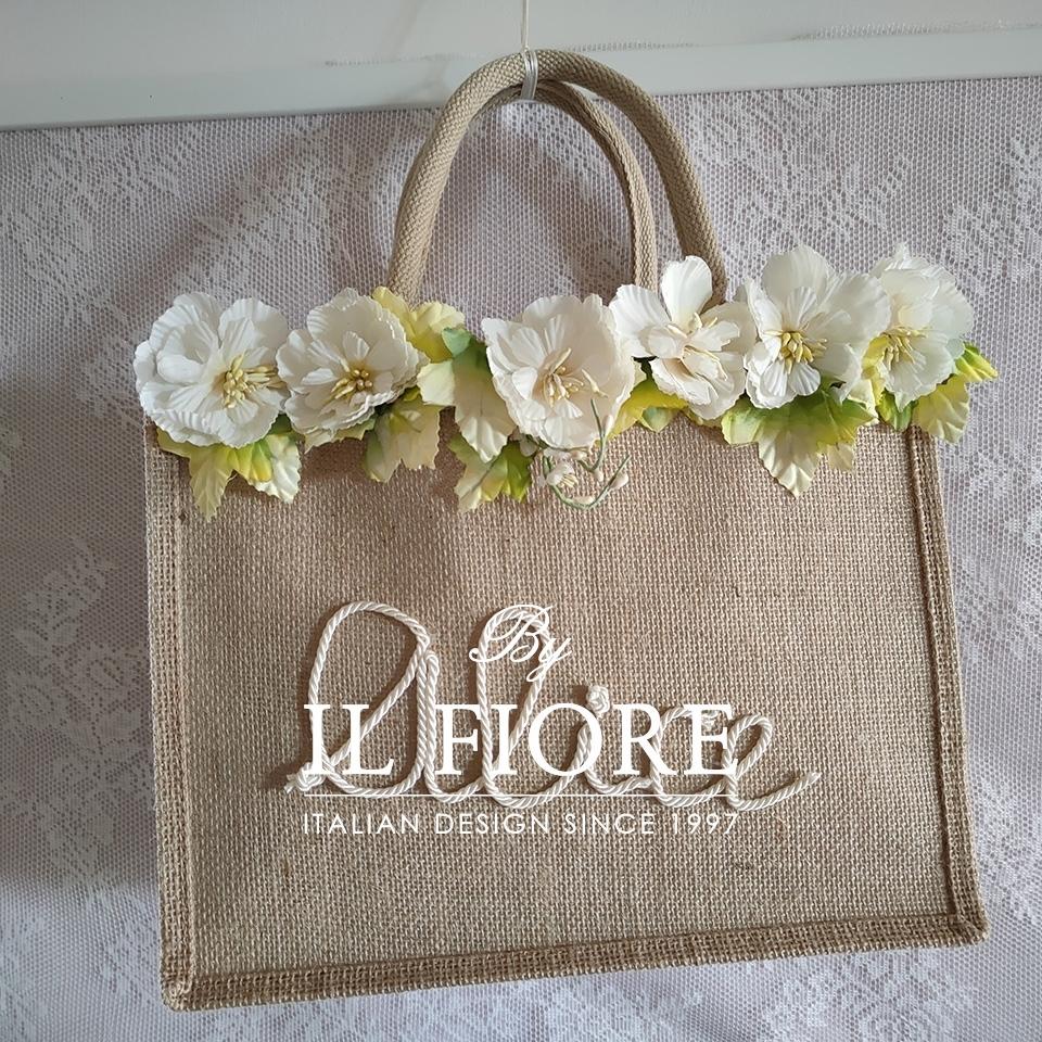 Borse in juta con nome personalizzabile e fiori Bag donna 010