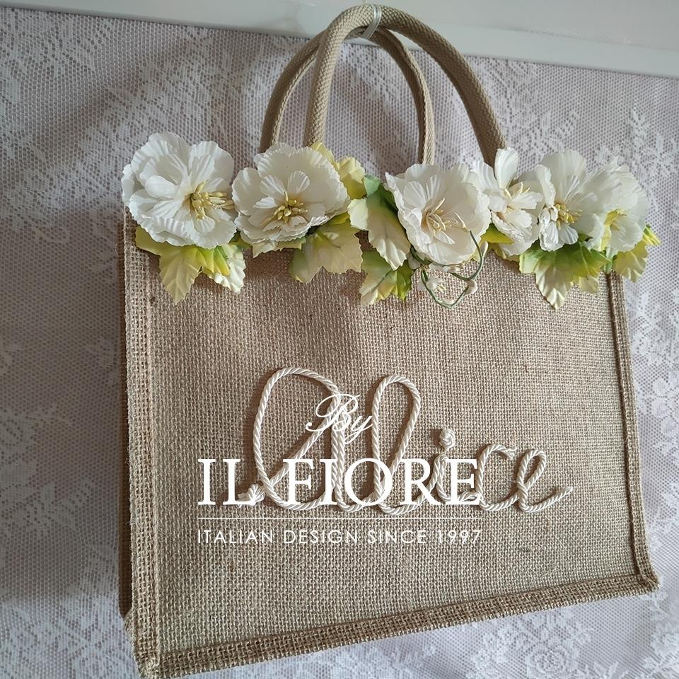 Borse in juta con nome personalizzabile e fiori Bag donna 01700