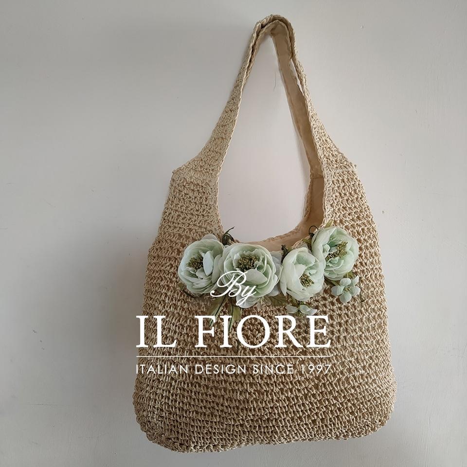 Borse donna a spalla con fiori verde acqua Bag donna 010
