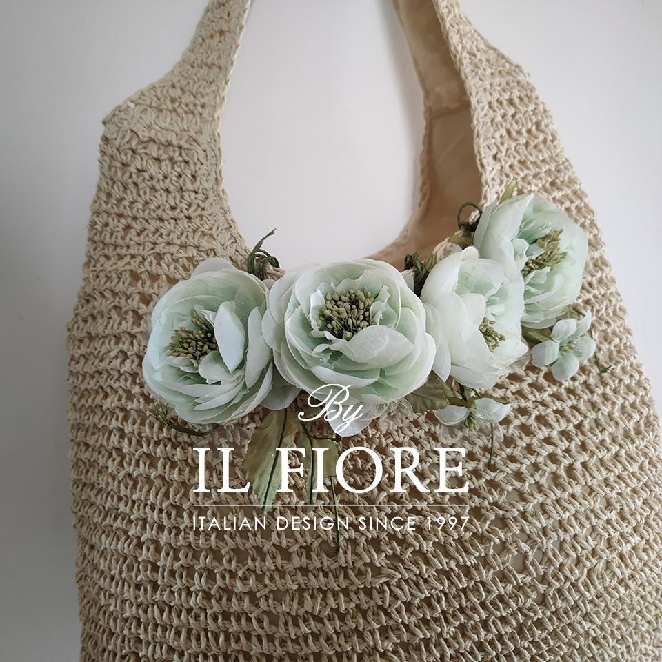 Borse donna a spalla con fiori verde acqua Bag donna 01730