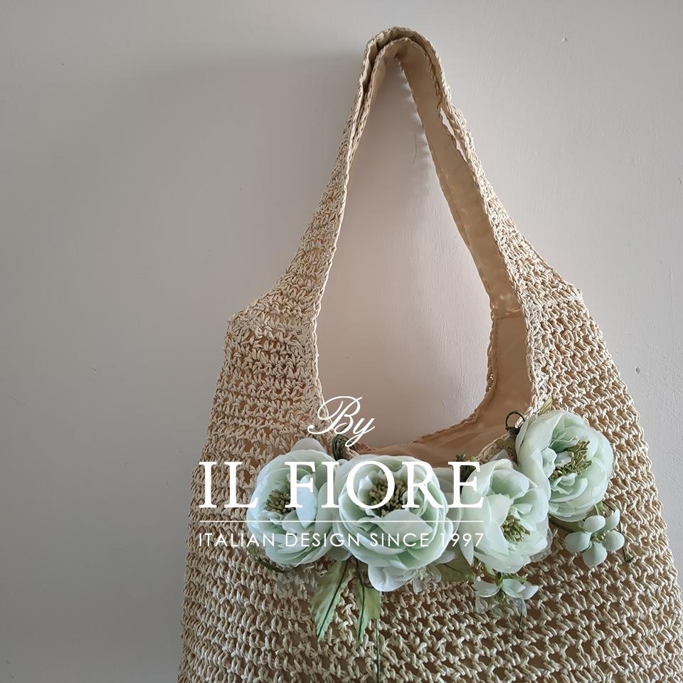 Borse donna a spalla con fiori verde acqua Bag donna 01740