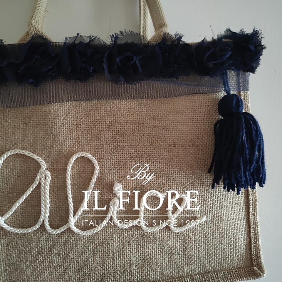 Borse donna con nome personalizzabile e fiori in organza blu Bag donna 010