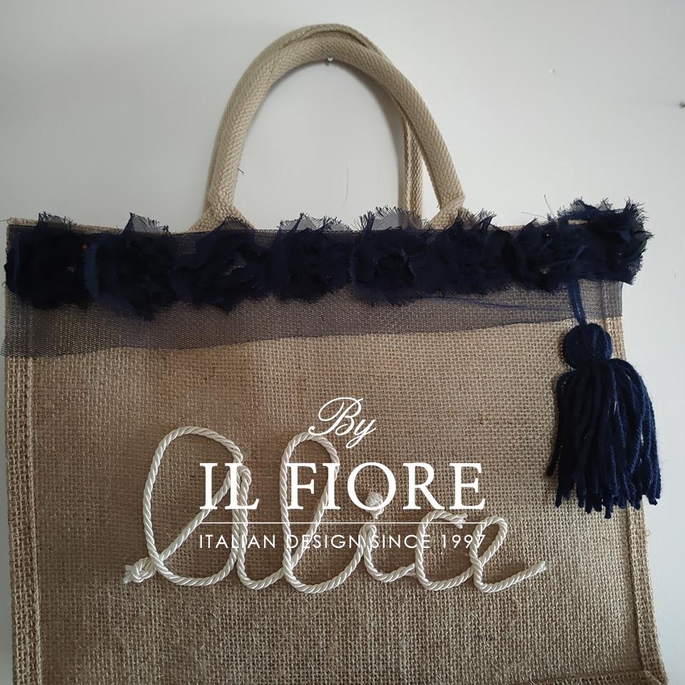 Borse donna con nome personalizzabile e fiori in organza blu Bag donna 01730