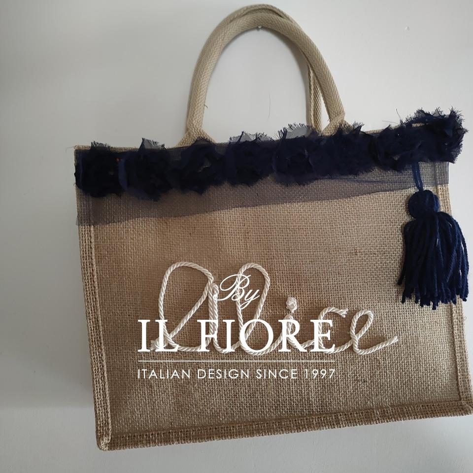 Borse donna con nome personalizzabile e fiori in organza blu Bag donna 01740