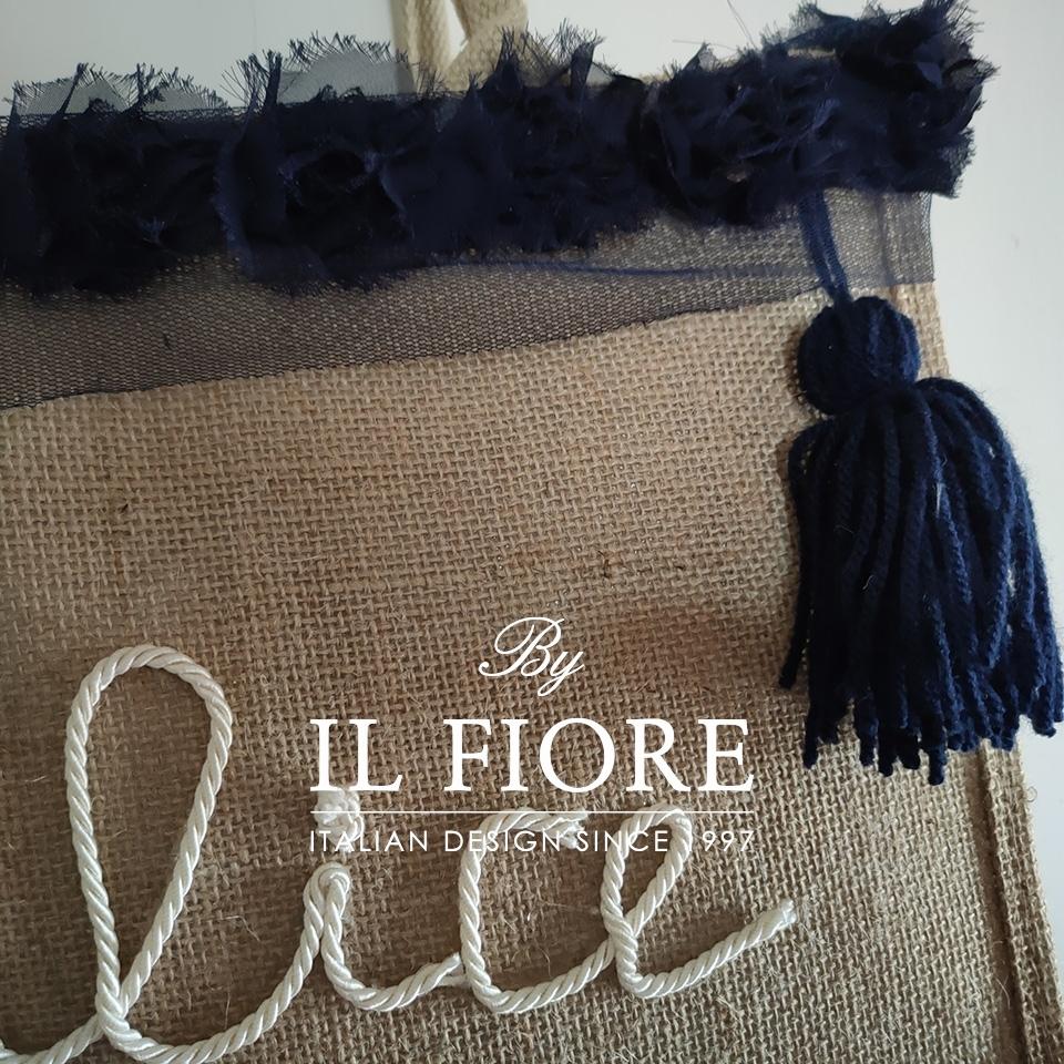 Borse donna con nome personalizzabile e fiori in organza blu Bag donna 01750