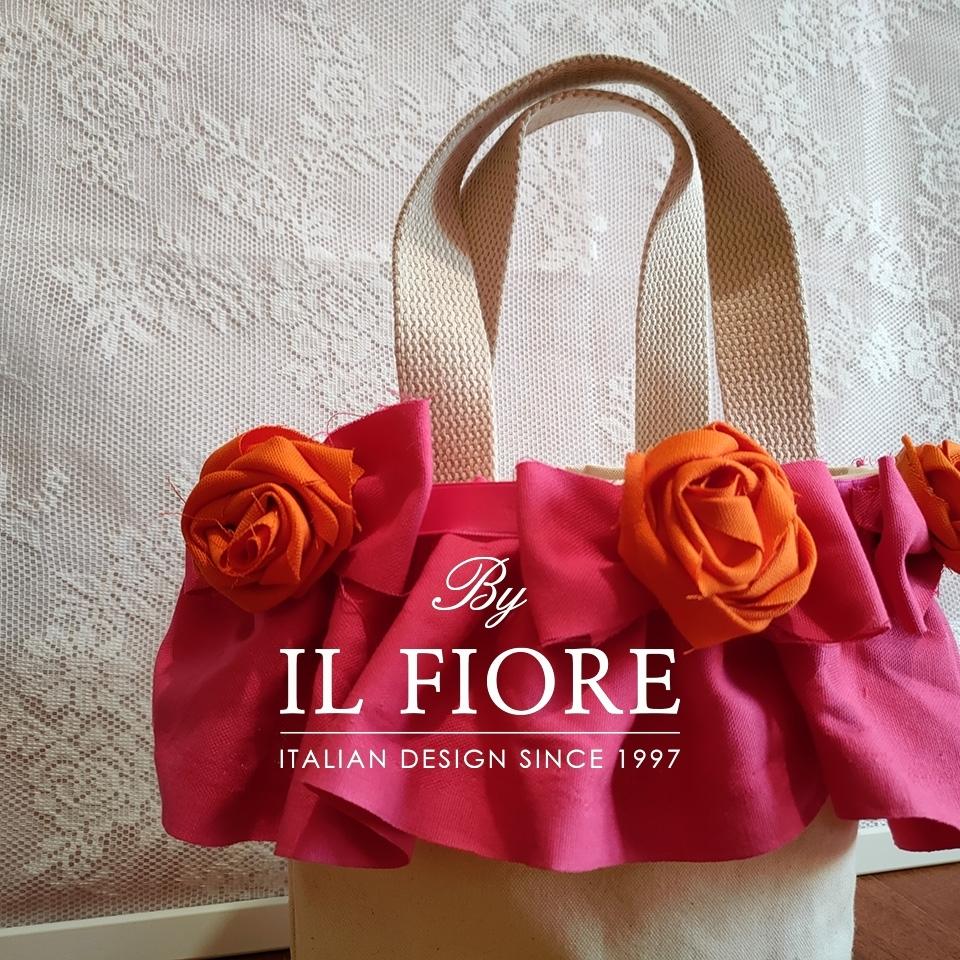 Borse donna con fiori di stoffa e volant fucsia Bag donna 010