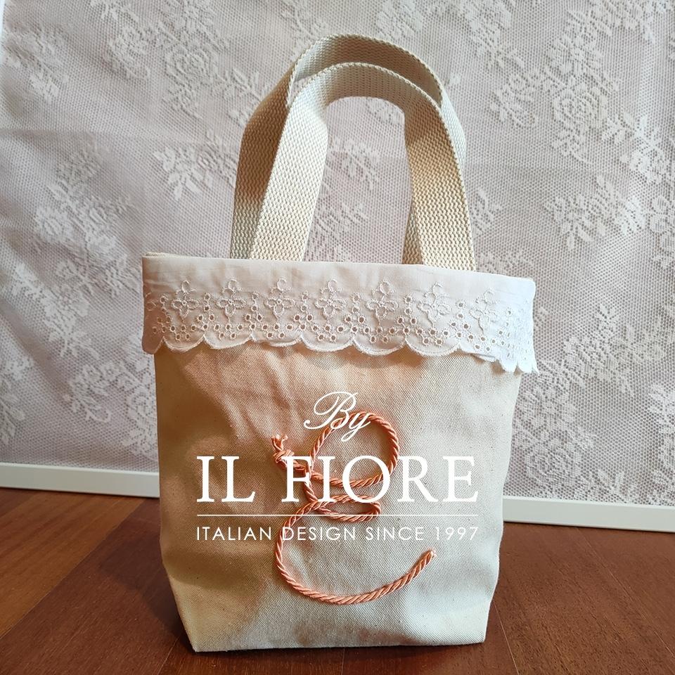 Borsa donna con pizzo Sangallo e lettera personalizzabile Bag donna 010