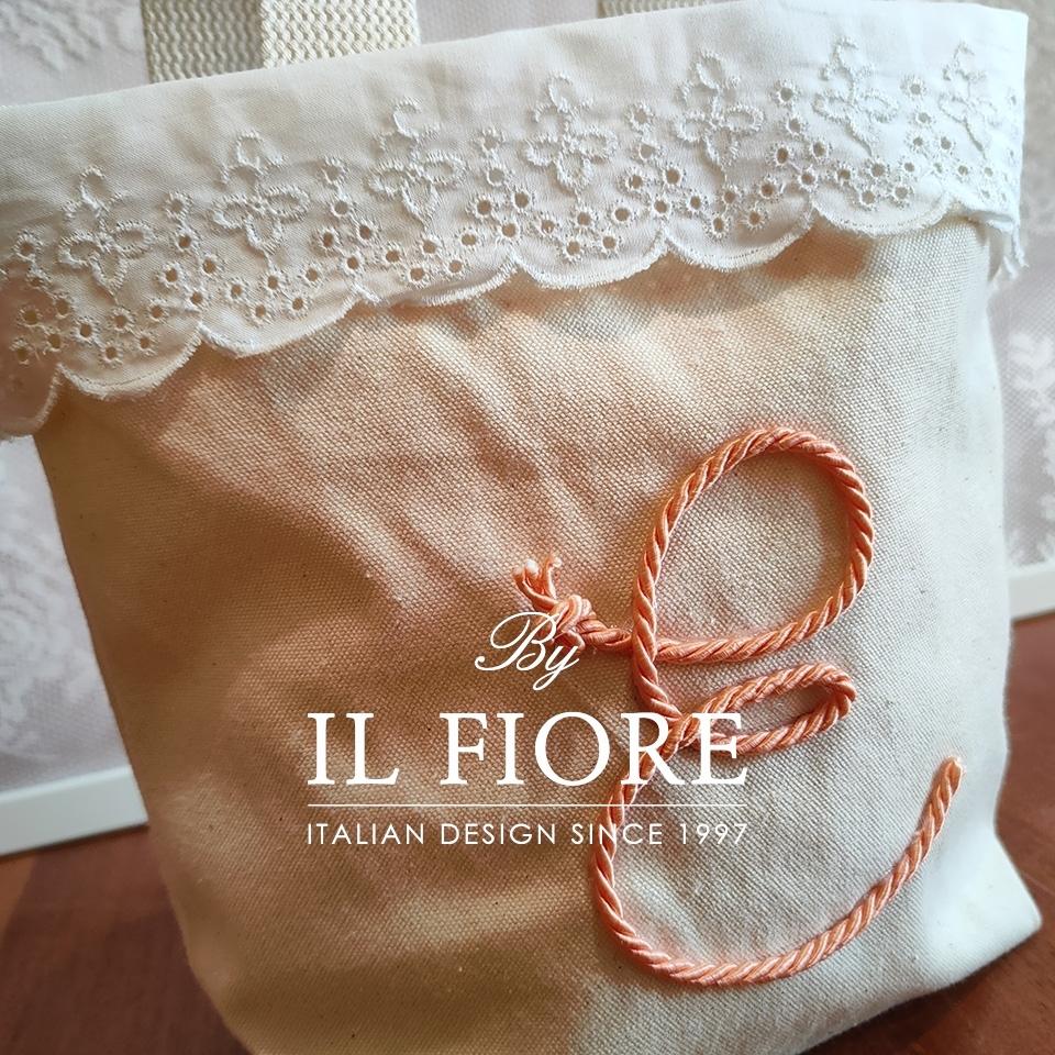 Borsa donna con pizzo Sangallo e lettera personalizzabile Bag donna 01740