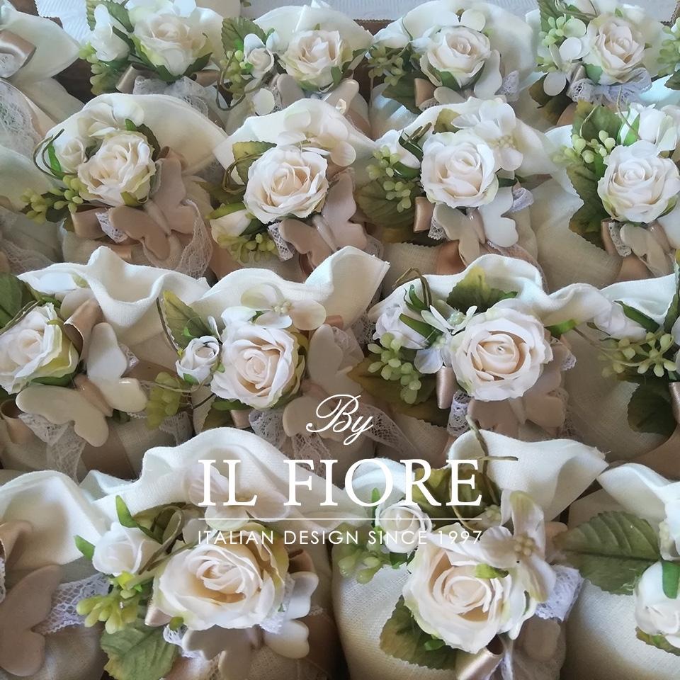 Bomboniera Matrimonio sacchetto con Farfalle e fiori 010