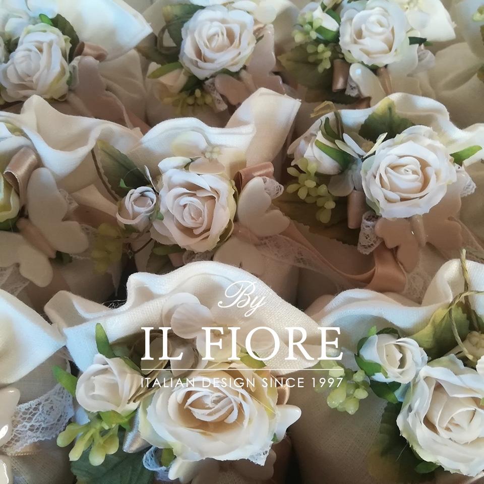 Bomboniera Matrimonio sacchetto con Farfalle e fiori 0890