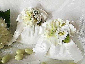 Bomboniera sacchetti in lino con fiore peonia e ortensia cod 38R - 38R1