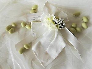 Bomboniera matrimonio comunione fazzoletto con fiori cod.  53R