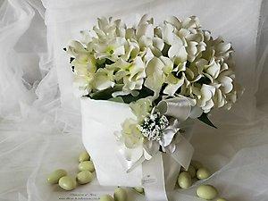 Bomboniera matrimonio Comunione sacchetto per confettata con fiori cod  50R