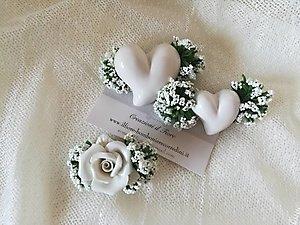 Segnaposti matrimonio Comunione e Cresima con cuore o rosa e gipsofila cod 78R- 78R1 - 78R2